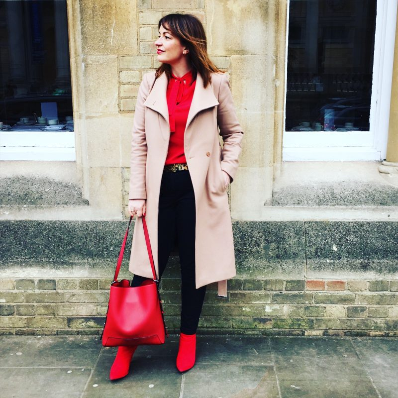 Lizzi Richardson red and camel outfit