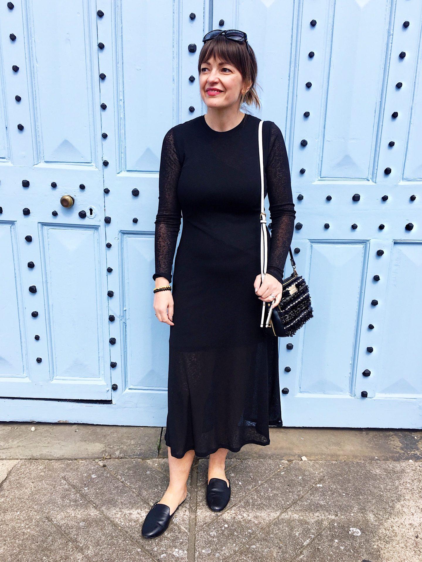 Topshop Long Sleeve Mesh Midi Dress