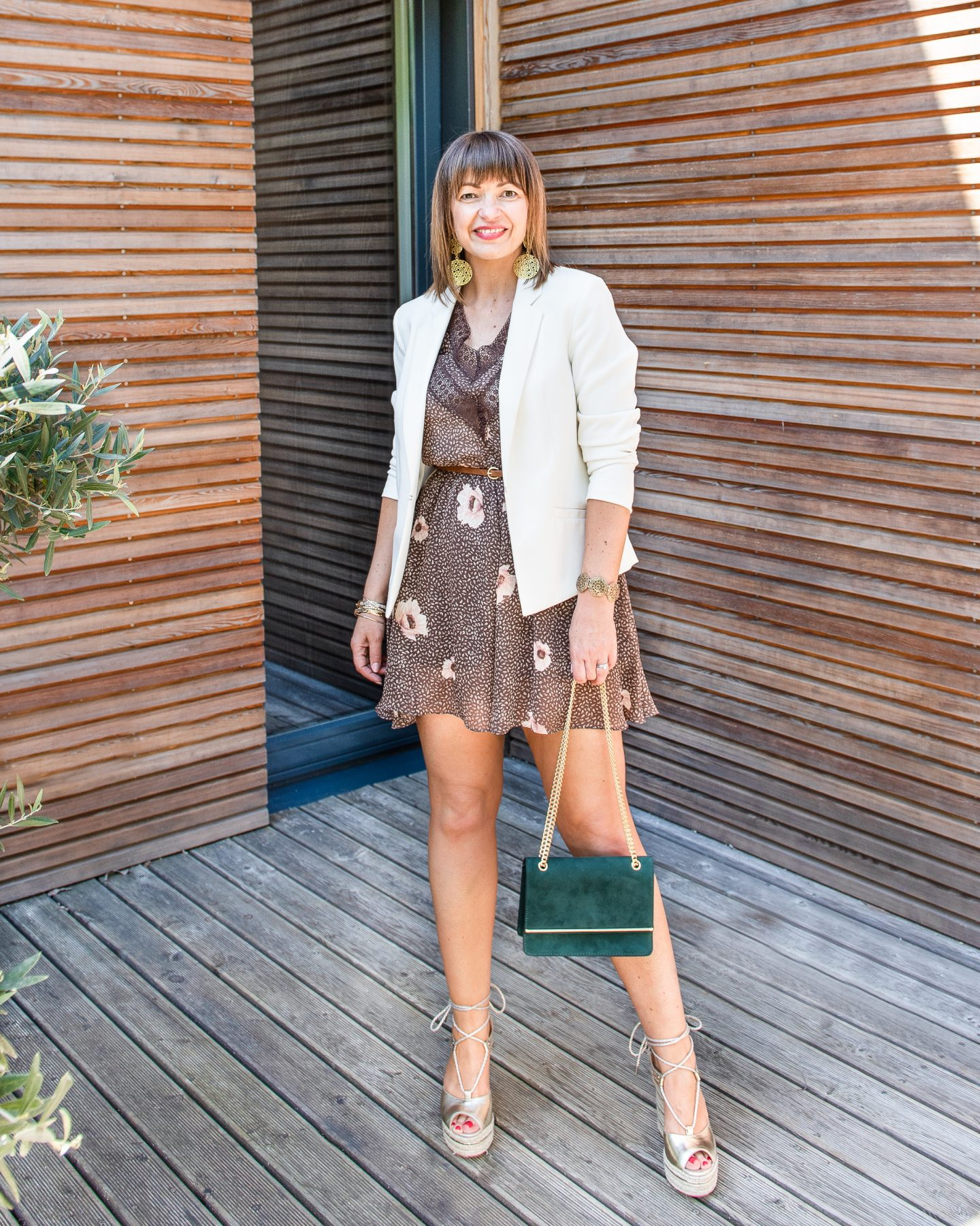 HM brown playsuit evening look
