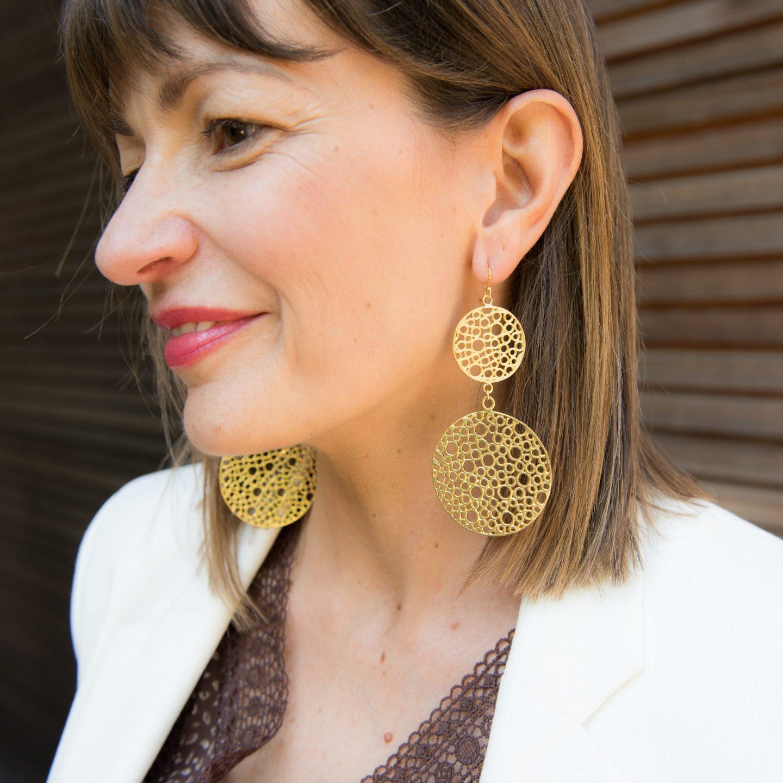 Janis Foale Jewellery Gold Disc Earrings