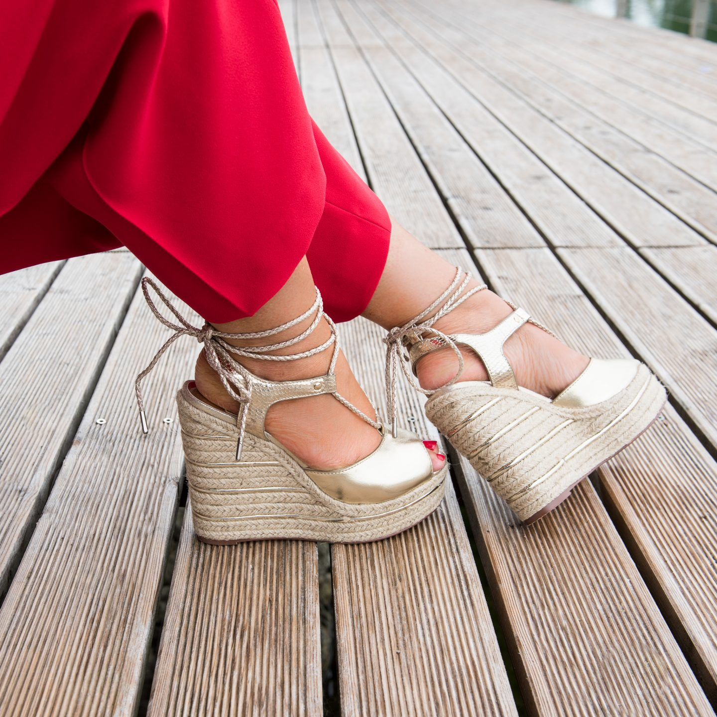 River Island Gold Wedges