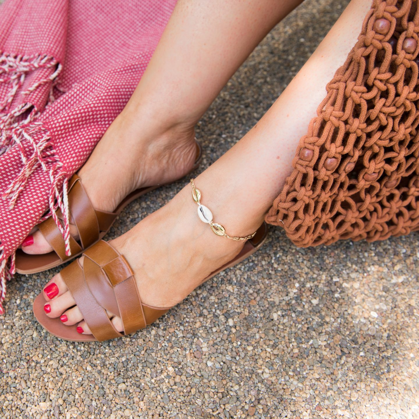 Shell anklet with tan sandals