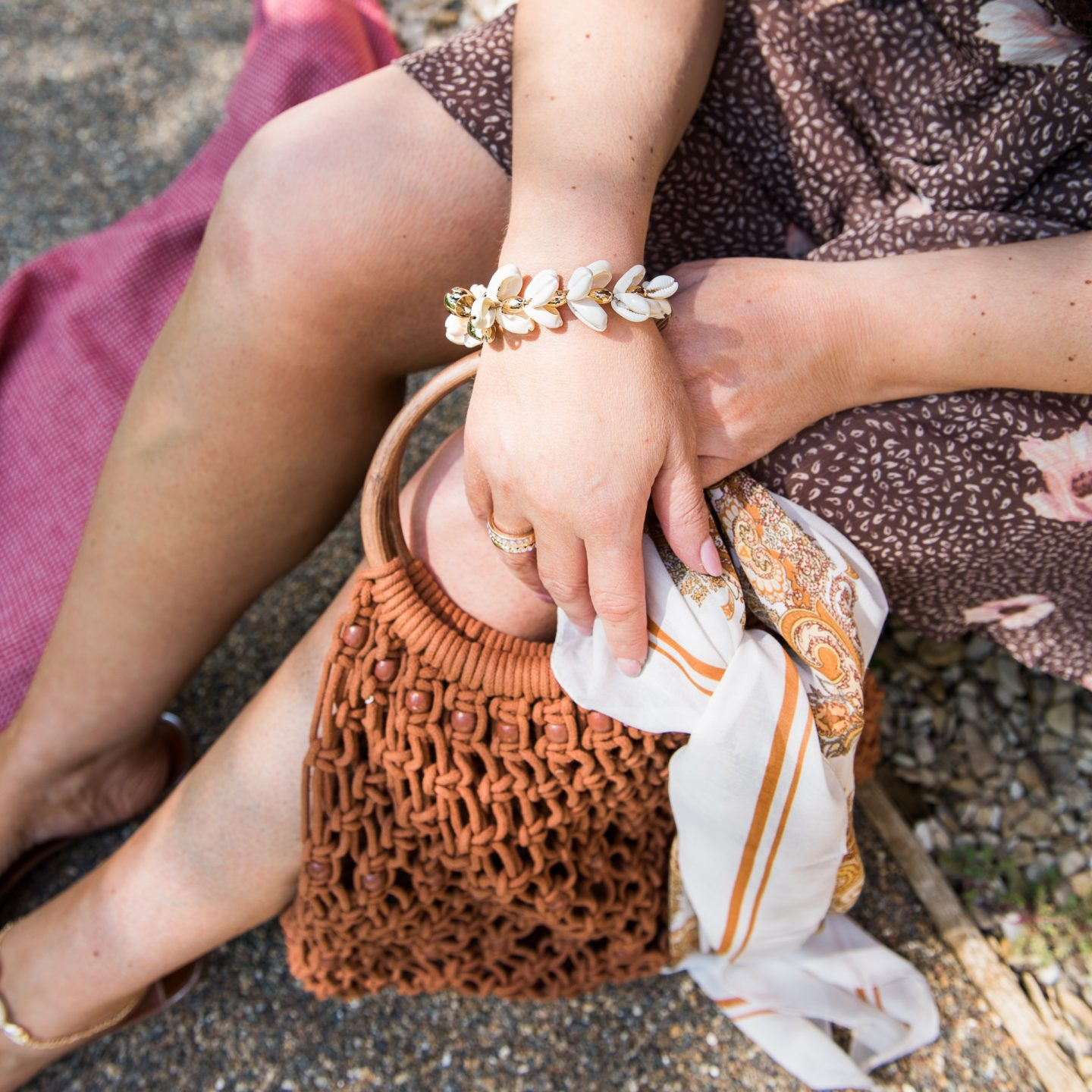 Shell bracelet with tan and brown accessories