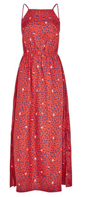 Red Leopard Print Crochet Front Maxi Dress