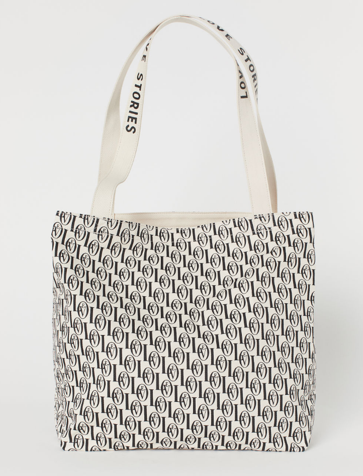 H&M - Love Stories Patterned Beach Bag