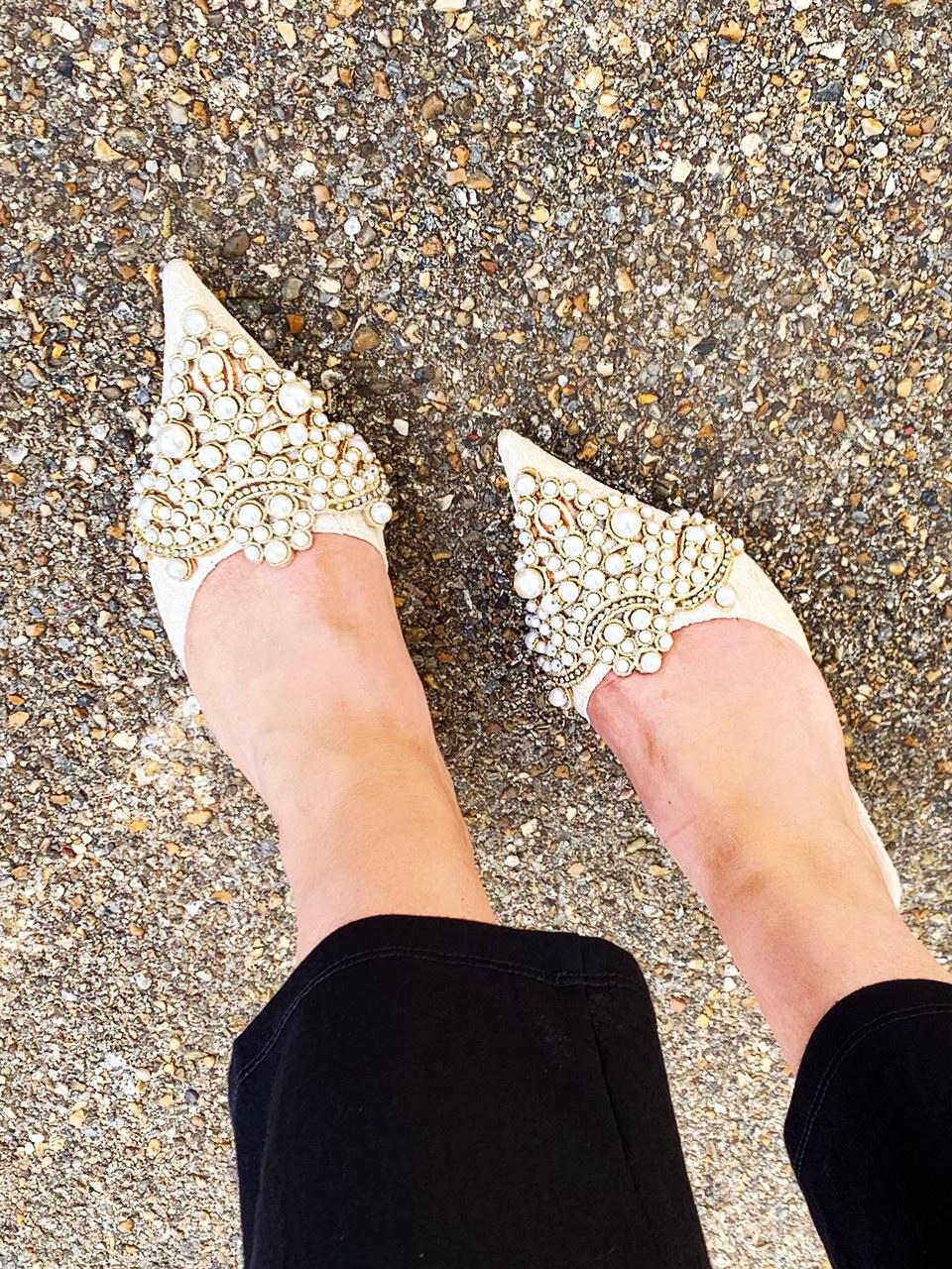Valentina Pearl Embellished Kitten Heel
