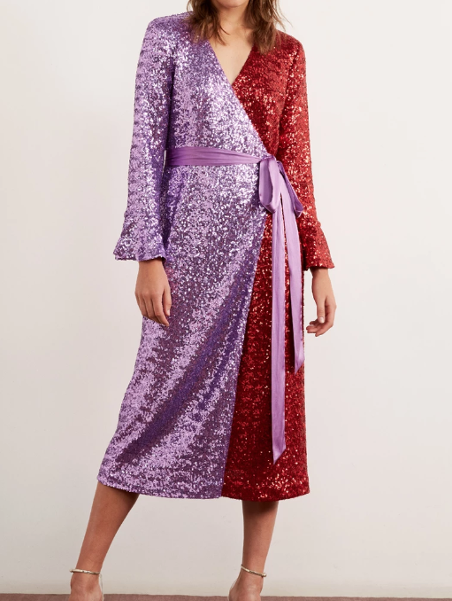 Alyssa Red Sequin Wrap Dress