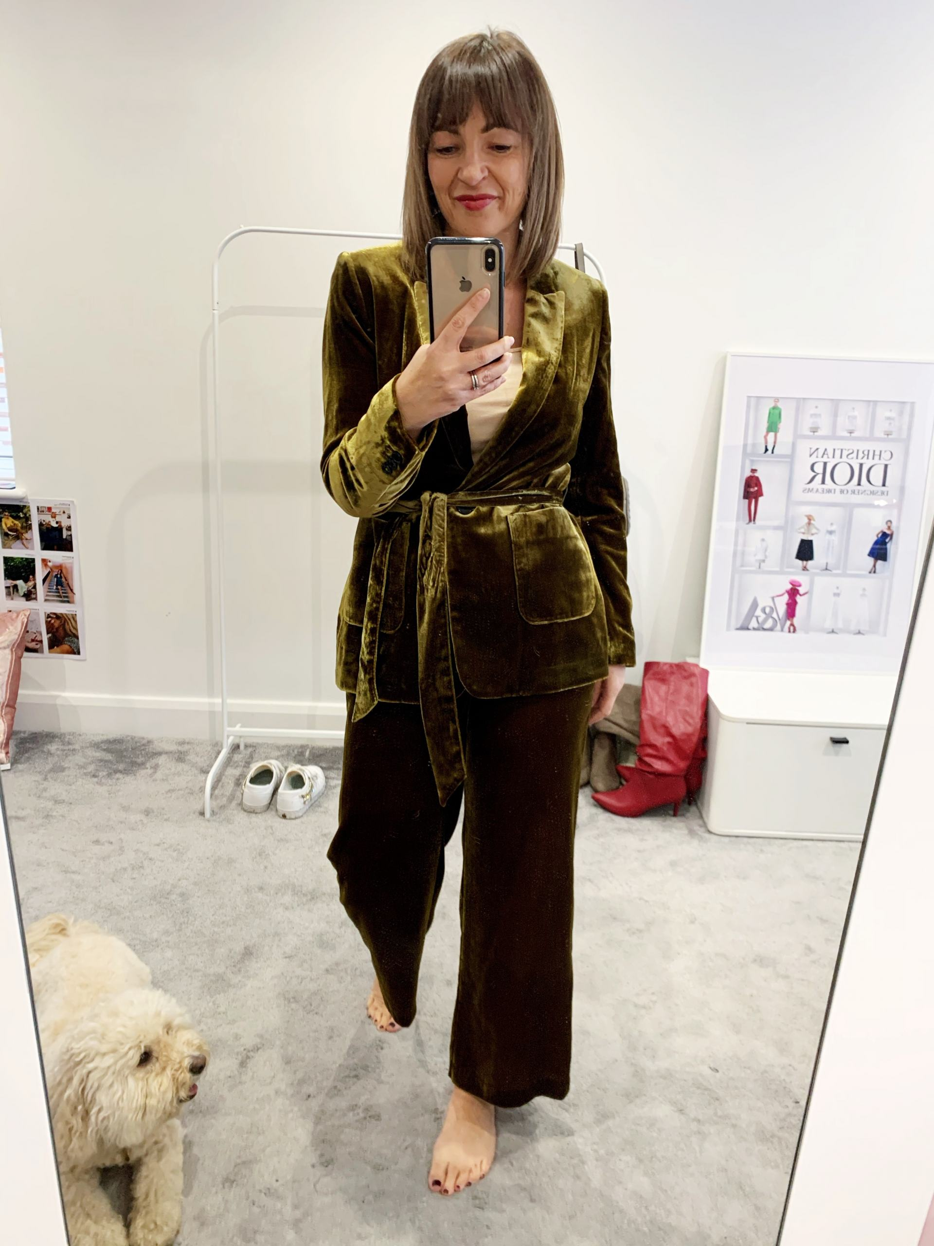 M&S green velvet suit