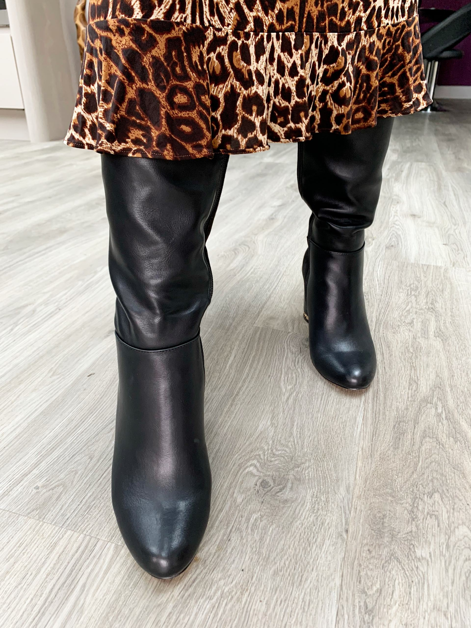 River Island Black knee high heeled boots