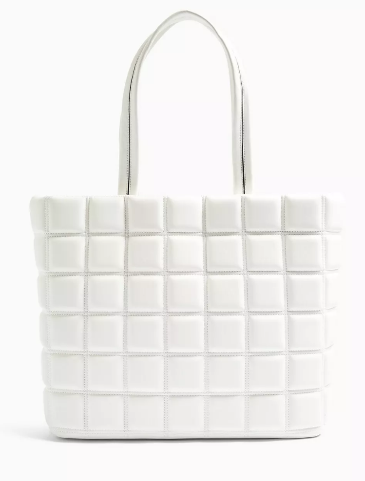RILEY White Quilted Tote Bag