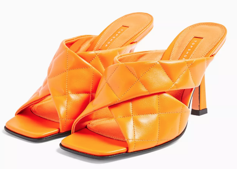 SKYLA Orange Quilted High Mules