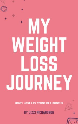 Pink eBook cover with the title stating My Weight Loss Journey in white. eBook is by Lizzi Richardson