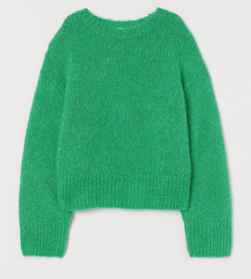 green knitted jumper