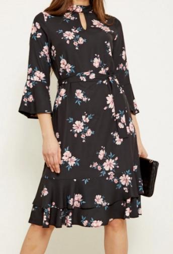 Black Floral Print Ruffle Hem Shift Dress