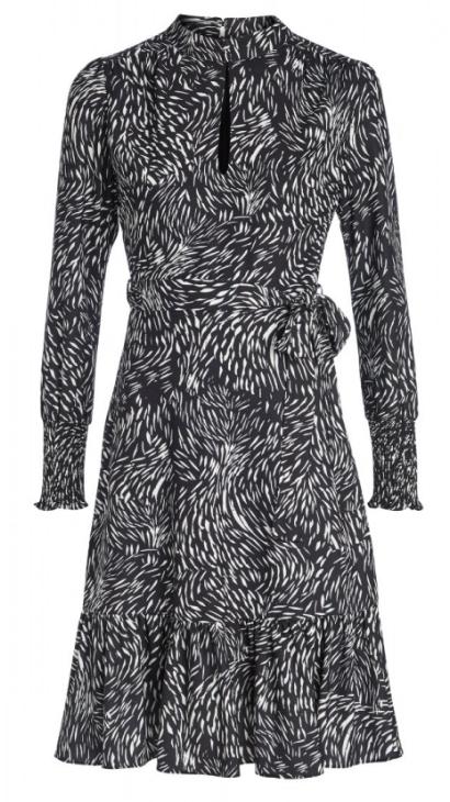 Black & White Swirl Print Fit & Flare Dress