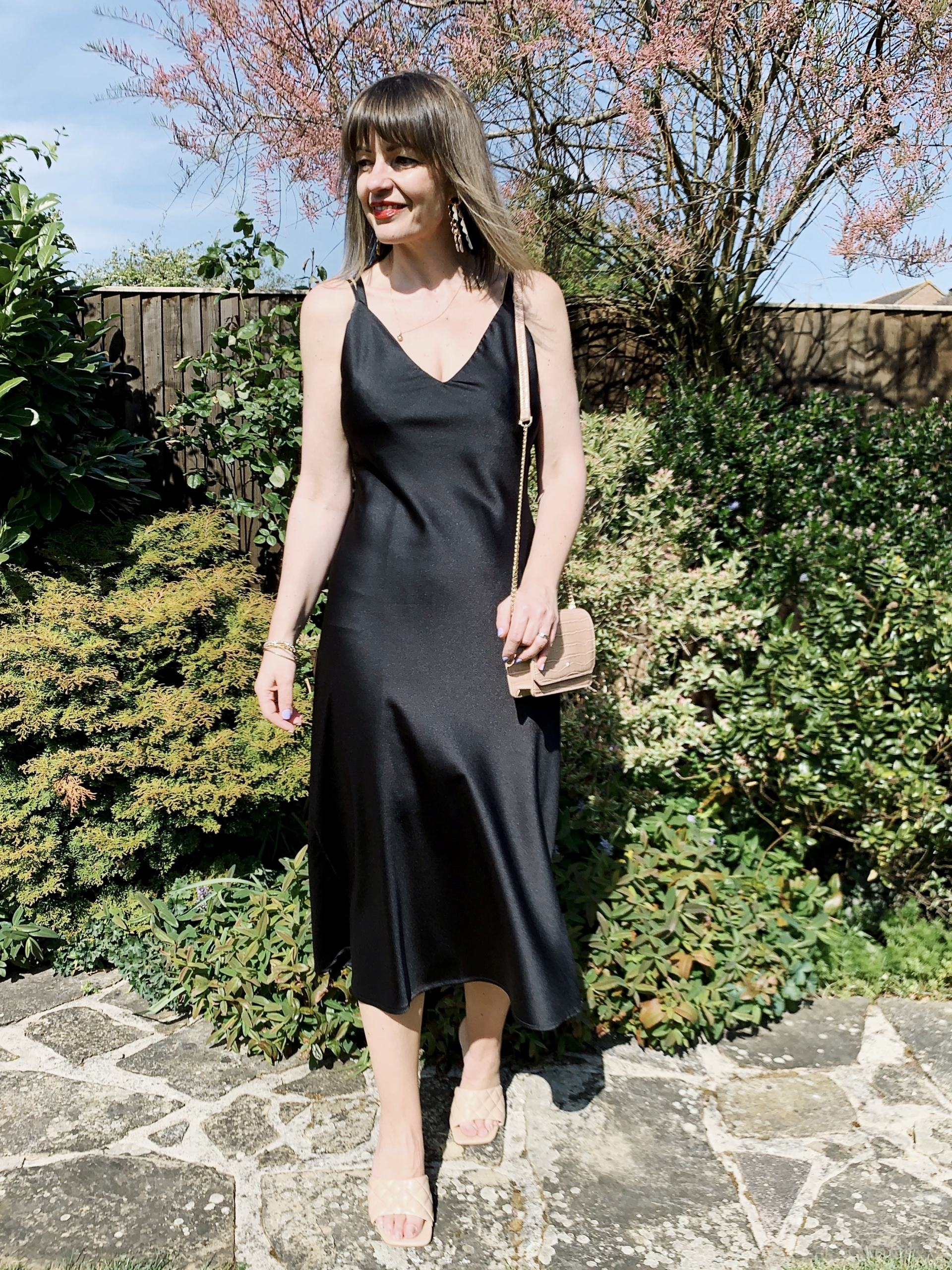 Black slip dress with nude accessories