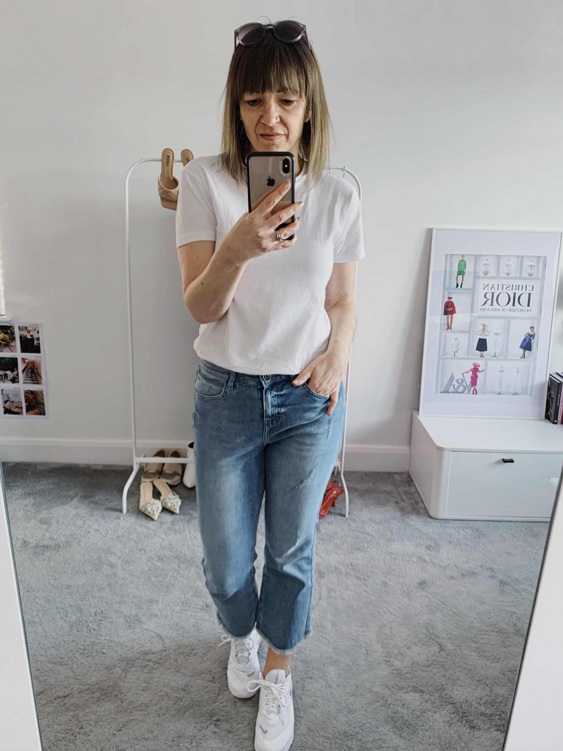white tshirt and jeans