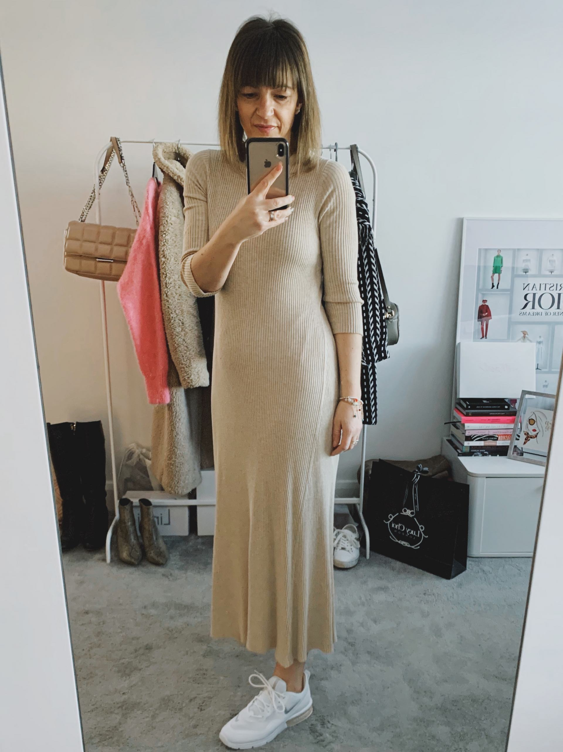 A nude knitted dress