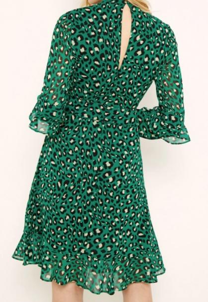 Green Leopard Print Fit & Flare Ruffle Dress