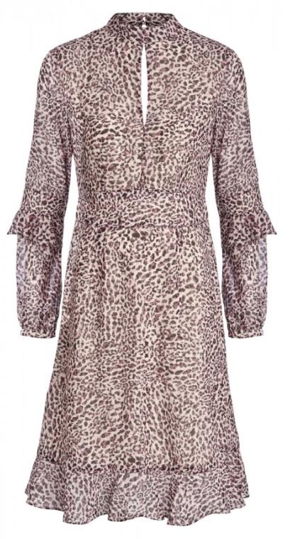 Pale Pink Leopard Print Fit & Flare Ruffle Dress