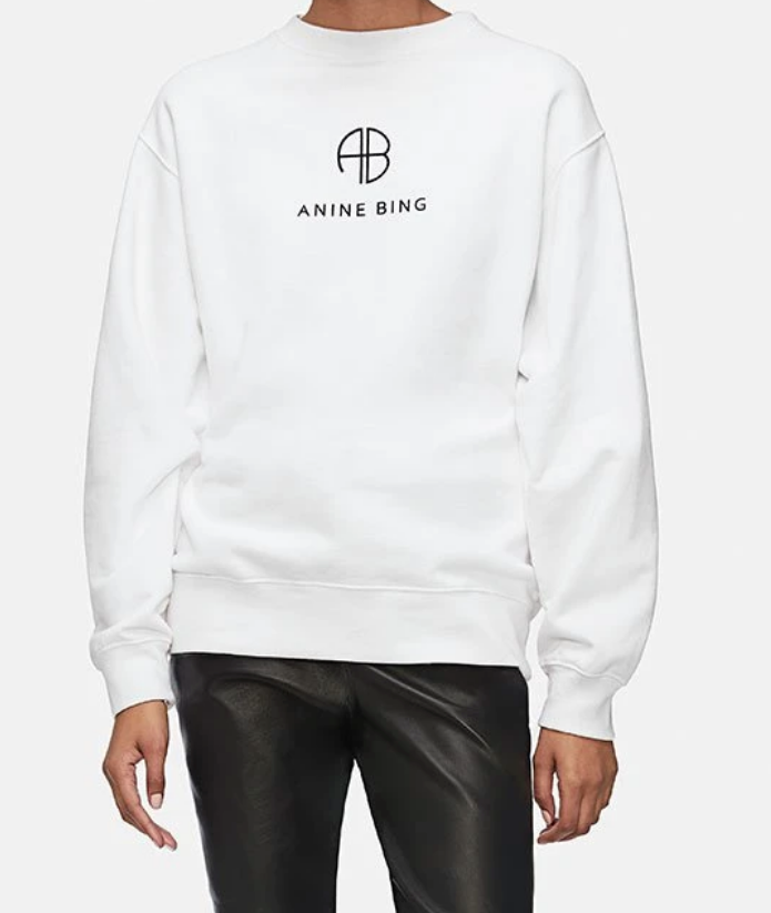 white sweatshirt with Anine Bing