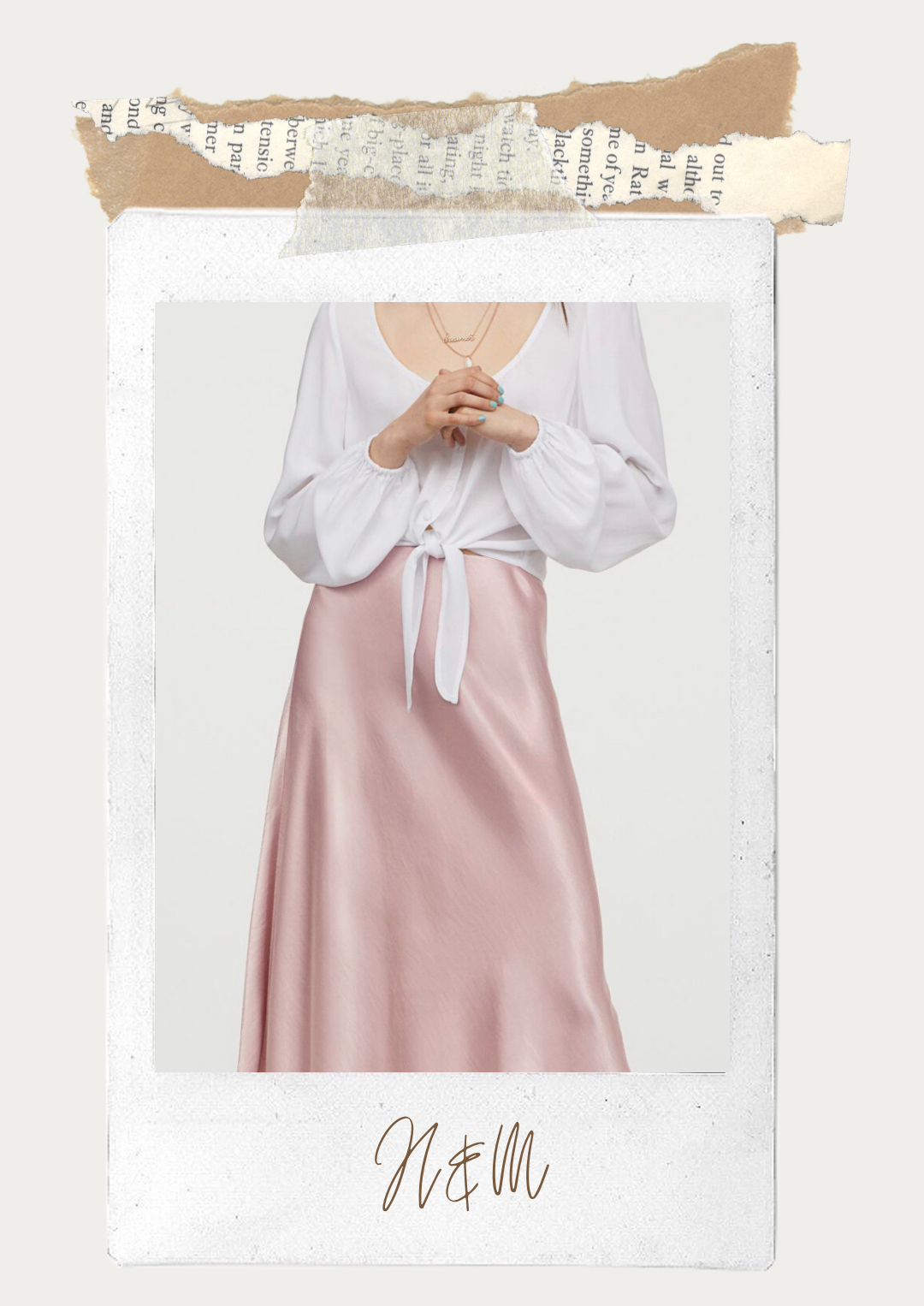 Satin slip pink skirt