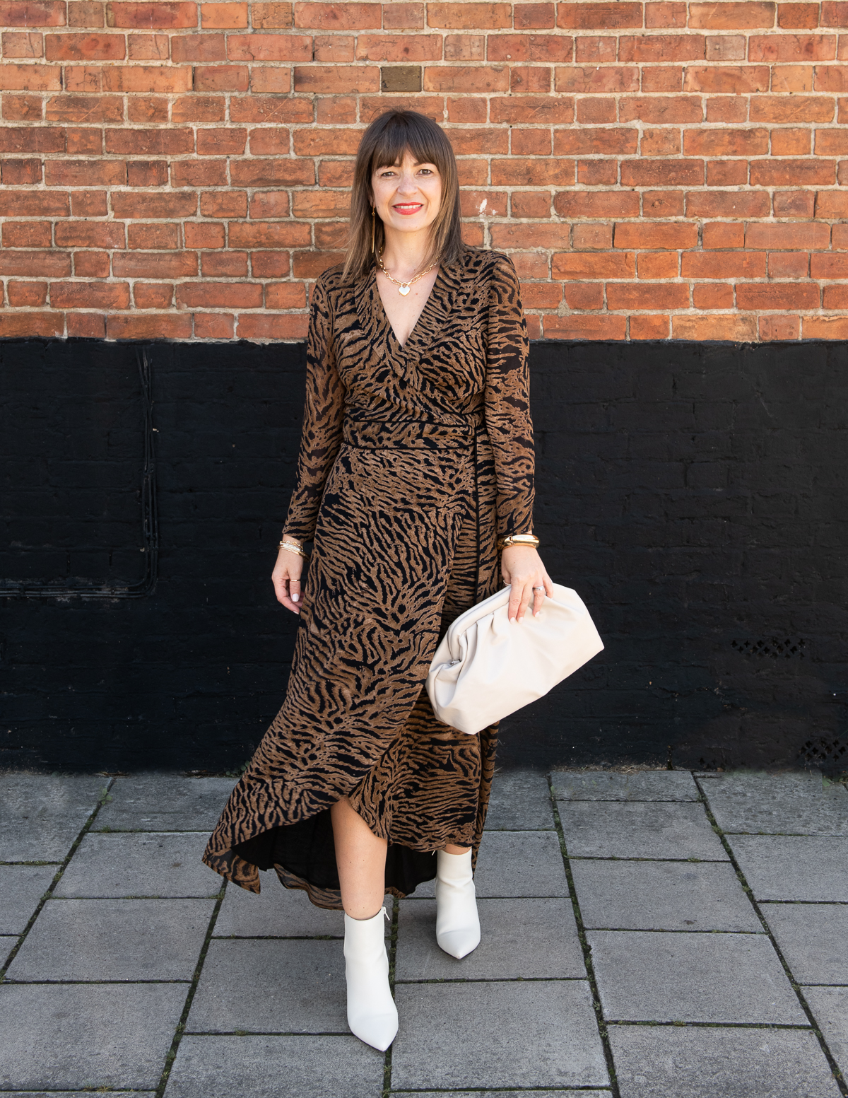 Outfit post of tiger print Ganni dress