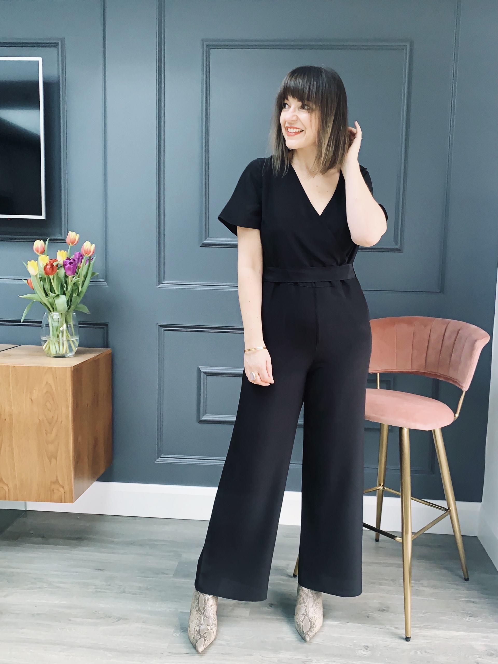 Lizzi Richardson wearing Ethereal London black jumpsuit