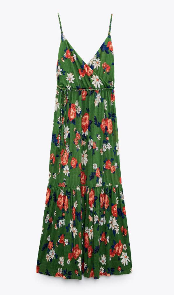 Zara maxi green floral print dress