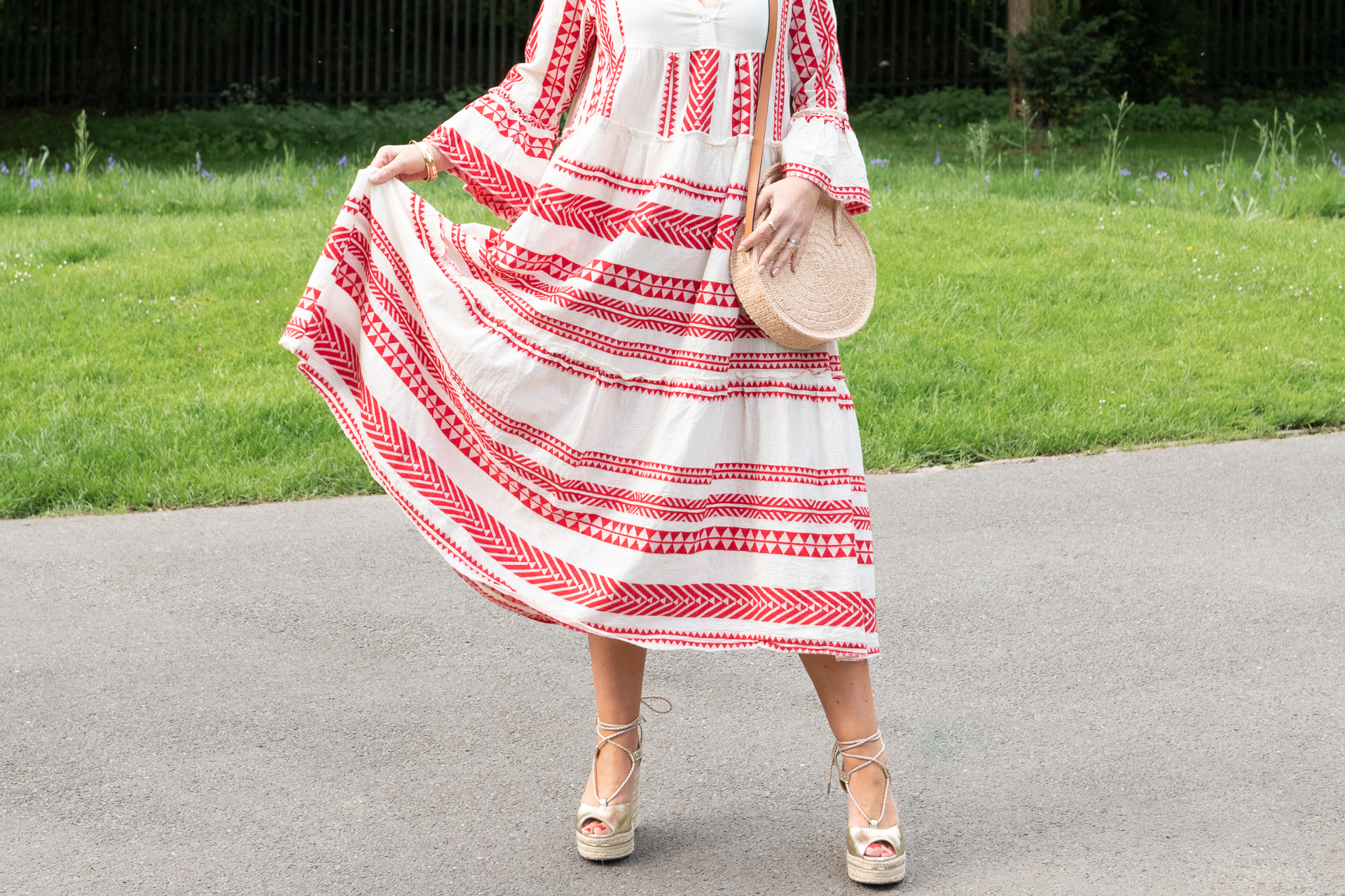 starw bag and espadrilles with the aztec dress