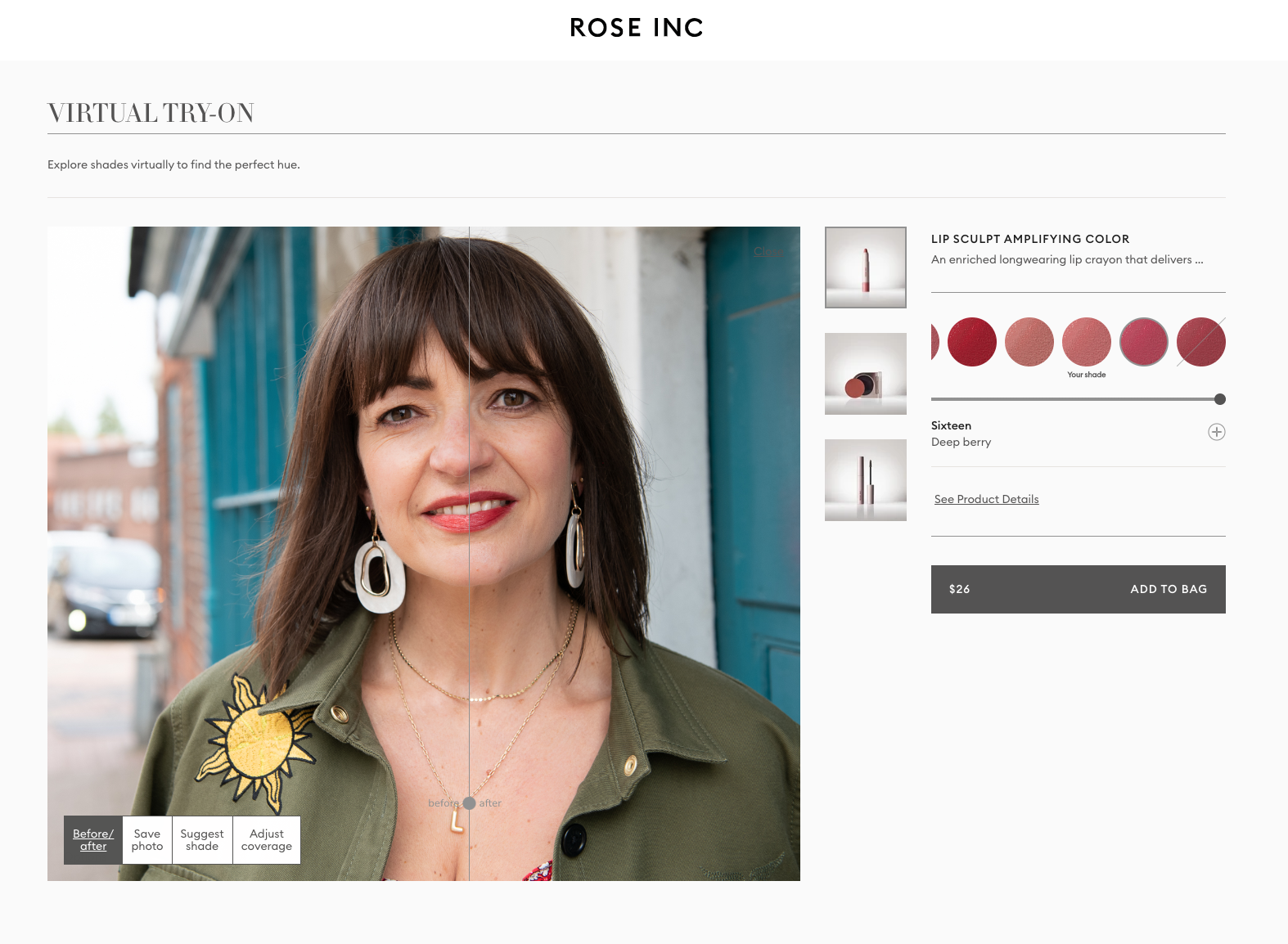 Rose Inc virtual try on Lizzi Richardson